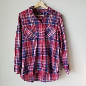 Madewell Ex Boyfriend Shirt In Kentwood Plaid Red